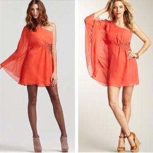 Free People Coral one shoulder dress
